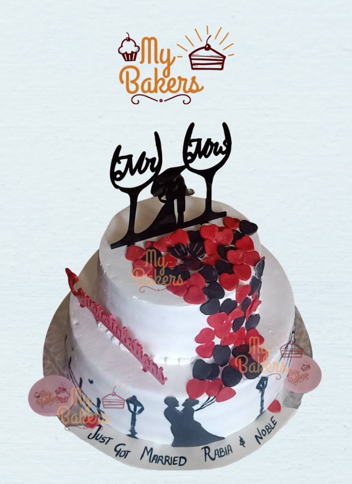 Couple 2 Tier Designer Hand Painted Cake with Red and Black Heart