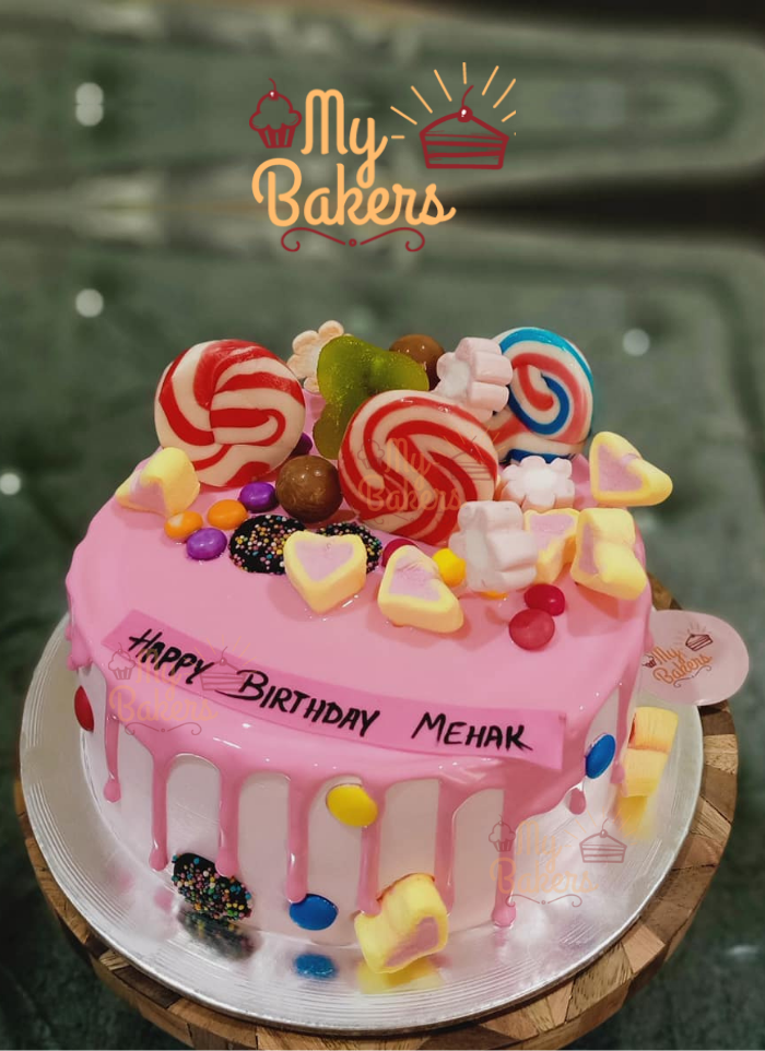 Layer Dripping Delicious Cake with Lots of Candies and Lollipop