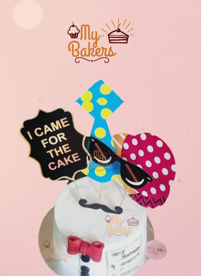 Mustache Theme Cake with Red Bow