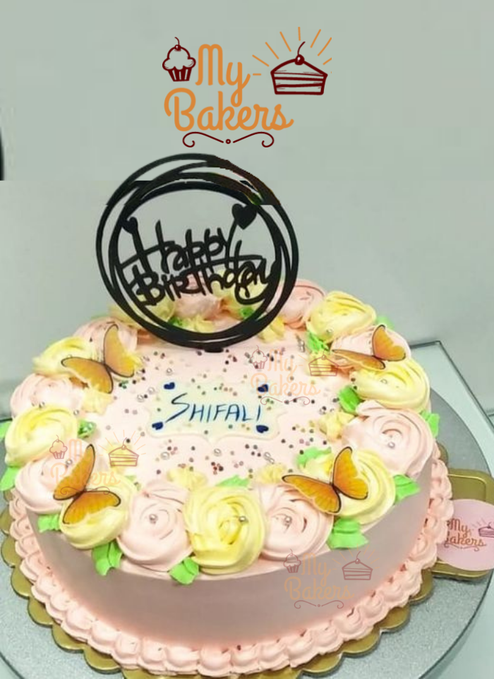 Peach Cream Roses Cake Decorated with Butterfly and Silver Balls