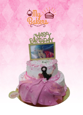 Princess in Pink Dress Two Tier Cake