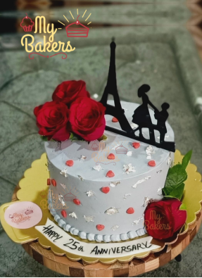 Special Couple Theme Cake with Roses