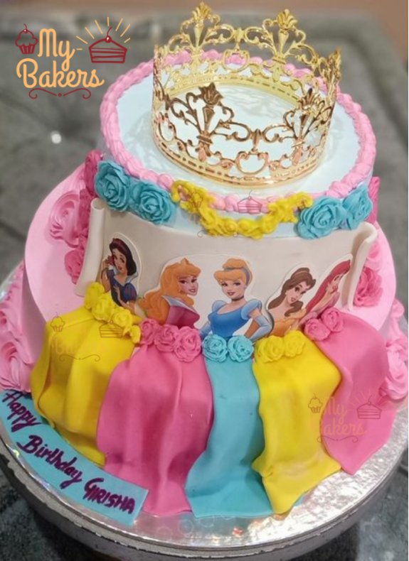 Two Tier Barbie Dresses and Exclusive Crown Cake