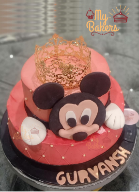 Two Tier Mickey Mouse Theme Cake