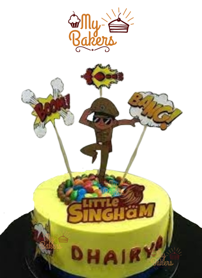Little Singham Theme Cake Decorated with Gems