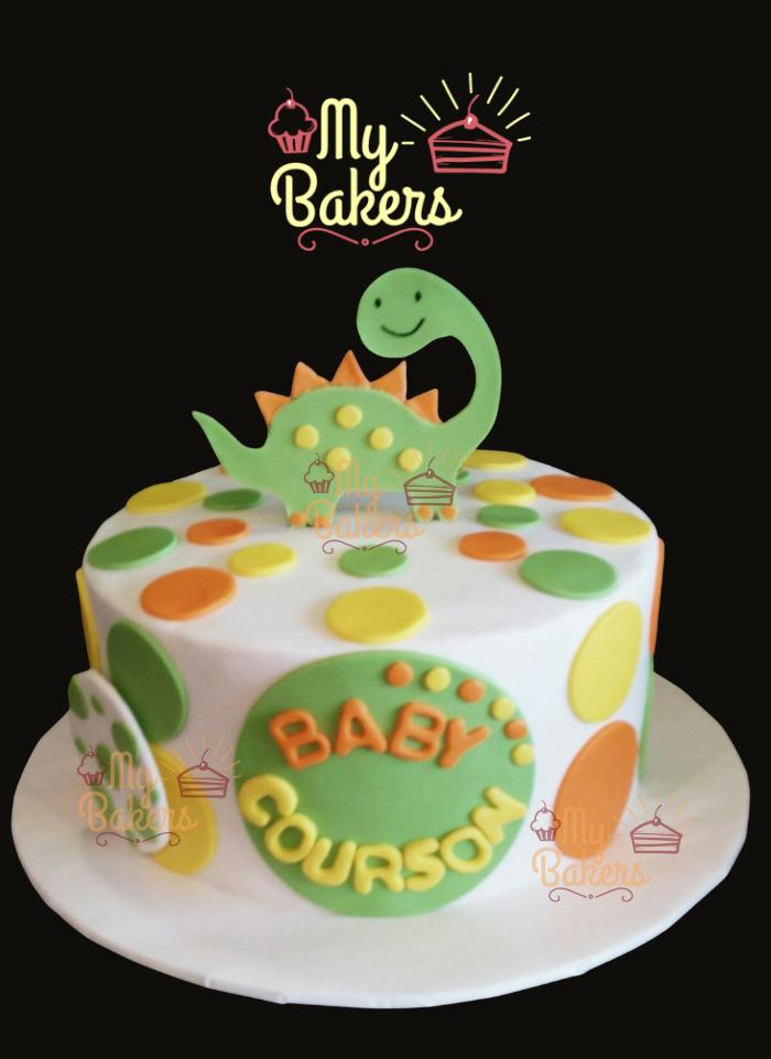 Baby Dinosaur Theme Fondant Cake