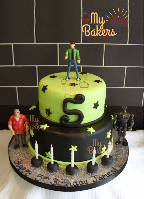 Ben 10 Two Tier Fondant Cake with 3 Toys