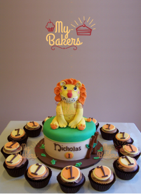 1st Birthday Baby Lion Theme Cake with 14 Cup Cakes