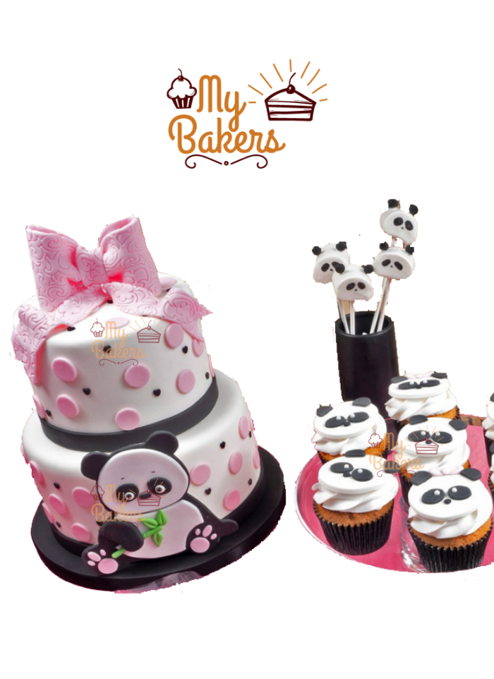 Cute Panda Two Tier Cake with 7 Cup Cakes and 4 Panda Candy