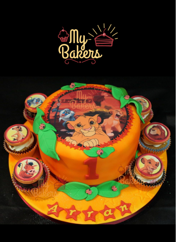 Lion Theme Photo Cake with 6 Cup Cakes