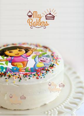 Delicious Dora Theme Cream Photo Cake