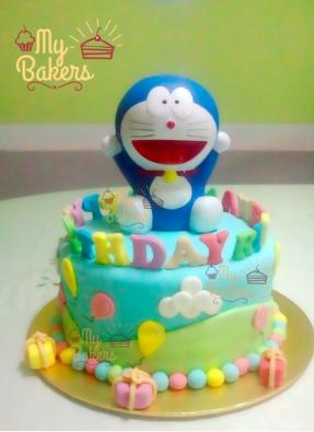 Edible Doraemon Theme Birthday Cake