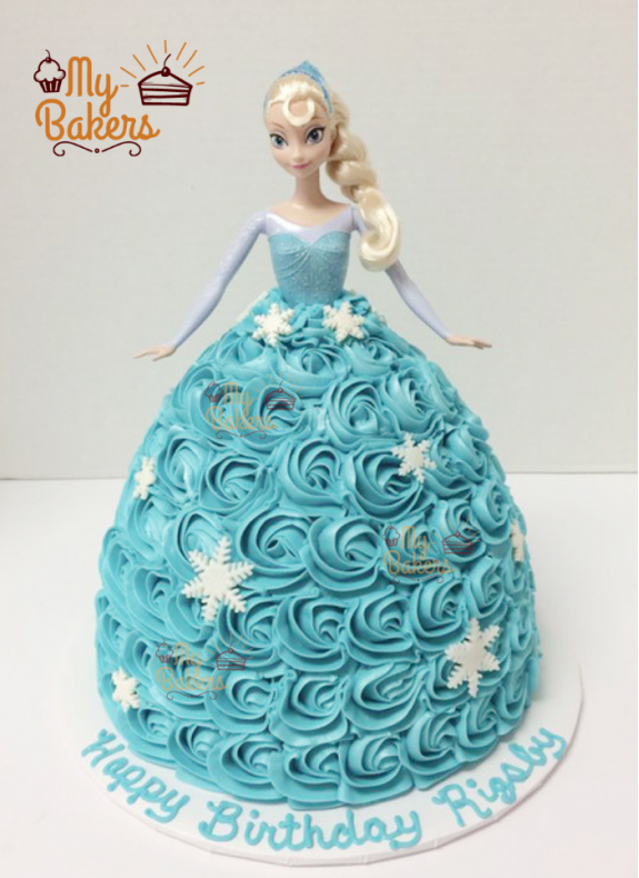 Beautiful Elsa Frozen Theme Cake