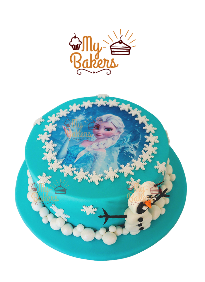 Frozen Theme Cake With Edible Olaf