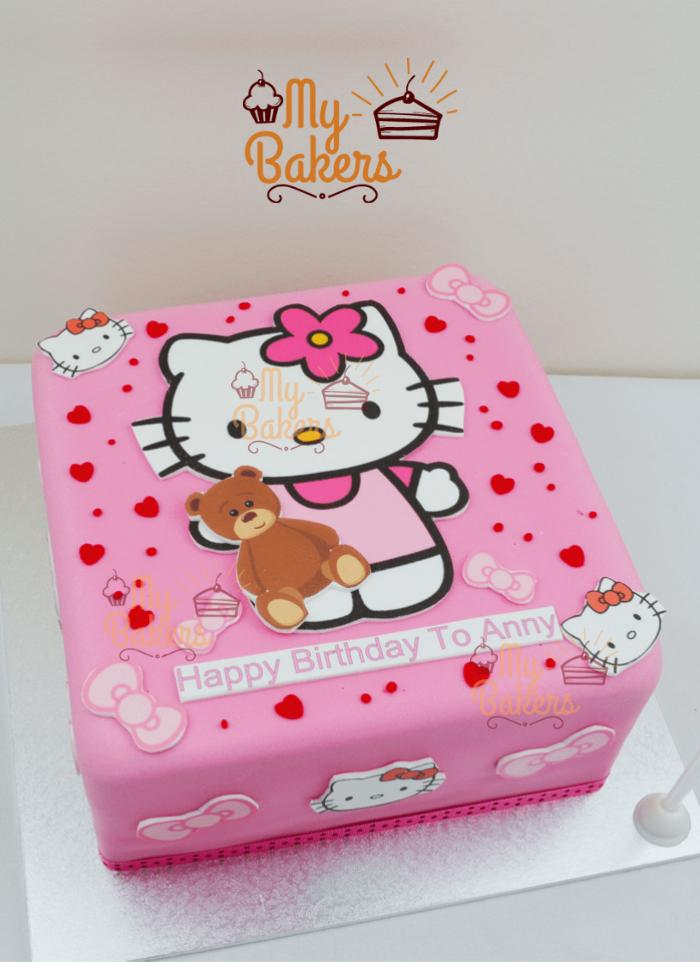 Cute Kitty and Teddy Birthday Cake