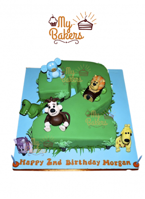 2nd Birthday Cake 2 Shape with 6 Edible Animals