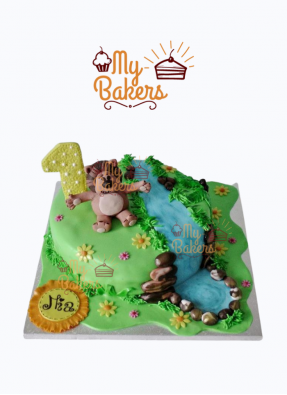 Jungle with River Flowing Theme 1st Birthday Cake