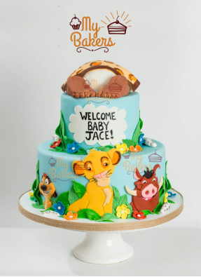 Welcome Baby with Jungle Theme Animal Cake
