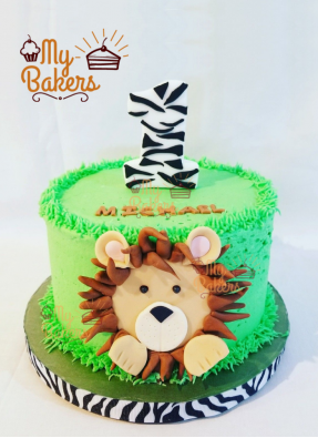 Lion Theme Cake for One Year