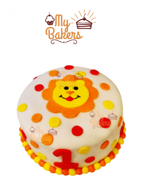 Lion Theme Fondant Cake for One Year Baby