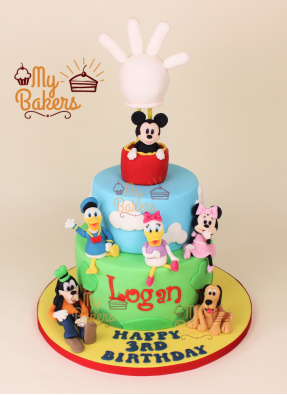 Disney Club House Theme Cake with 6 Edible Characters