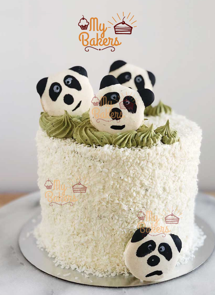 Cute Pandas with Desiccated Coconut Cake