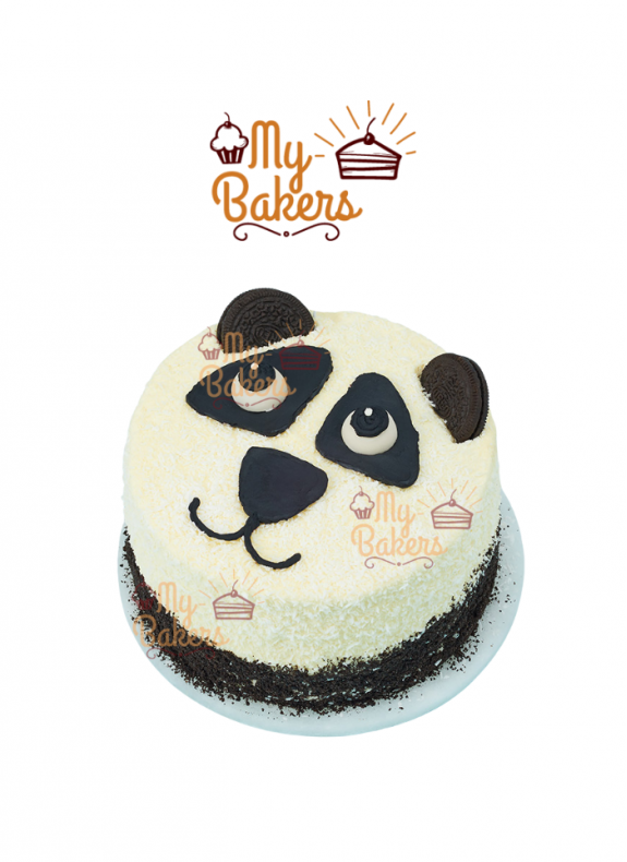 Panda Face With Desiccated Coconut Cake