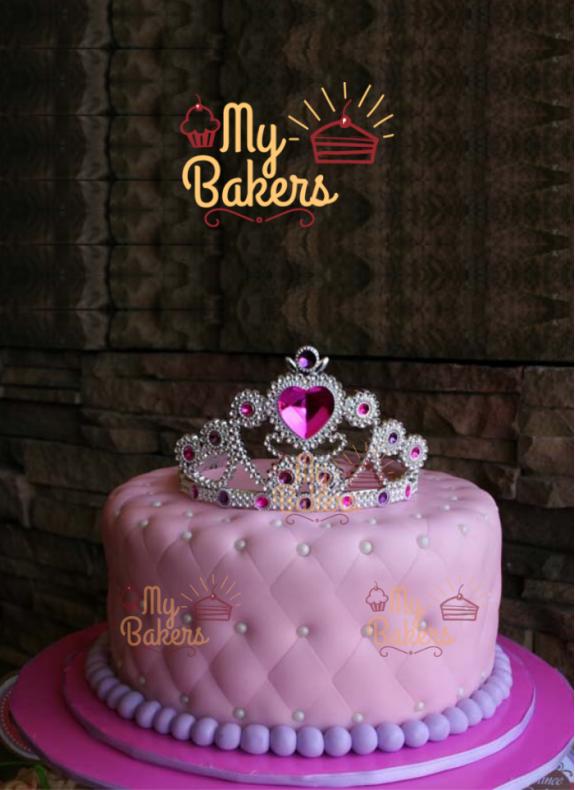 Beautiful Pink Fondant Cake with Crown