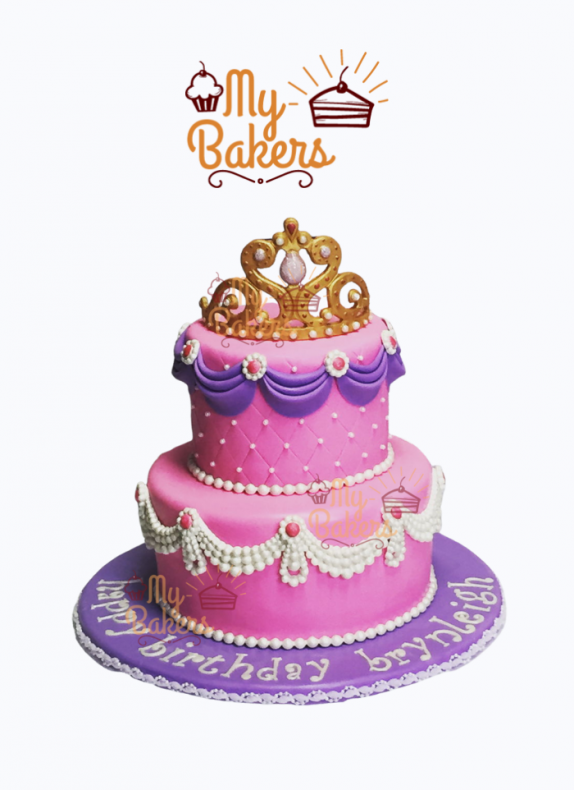 Princess Crown Two Tier Cake Decorated with Pearls