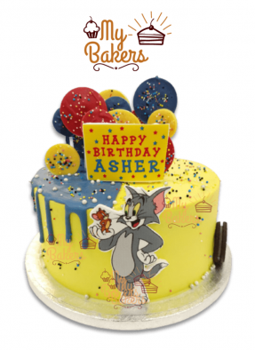Tom and Jerry Theme Cake Decorated with Sprinkle Balls