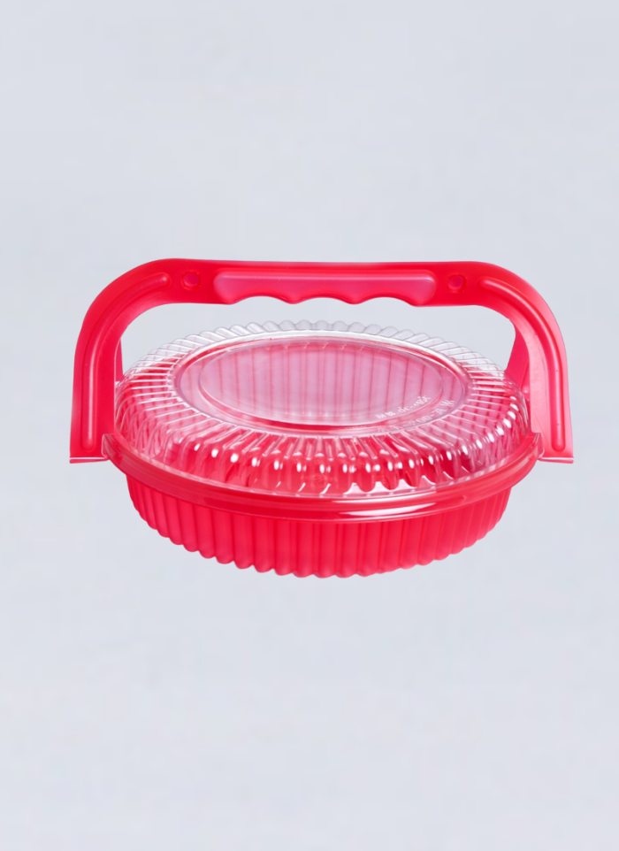 Cake Basket Conatiner With Handle 8 inch Pink pack of 10