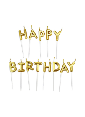 Happy Birthday candle Gold pack of 1