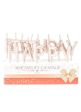 Happy Birthday candle Rose Gold pack of 1