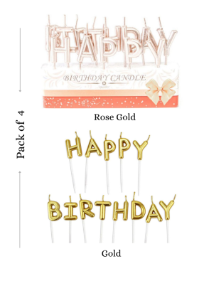 Happy Birthday candle Rose Gold and Gold Total 4 Packets pack of 1