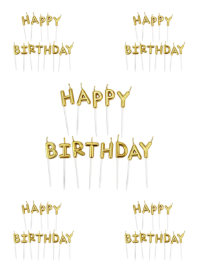 Happy Birthday candle Gold pack of 5