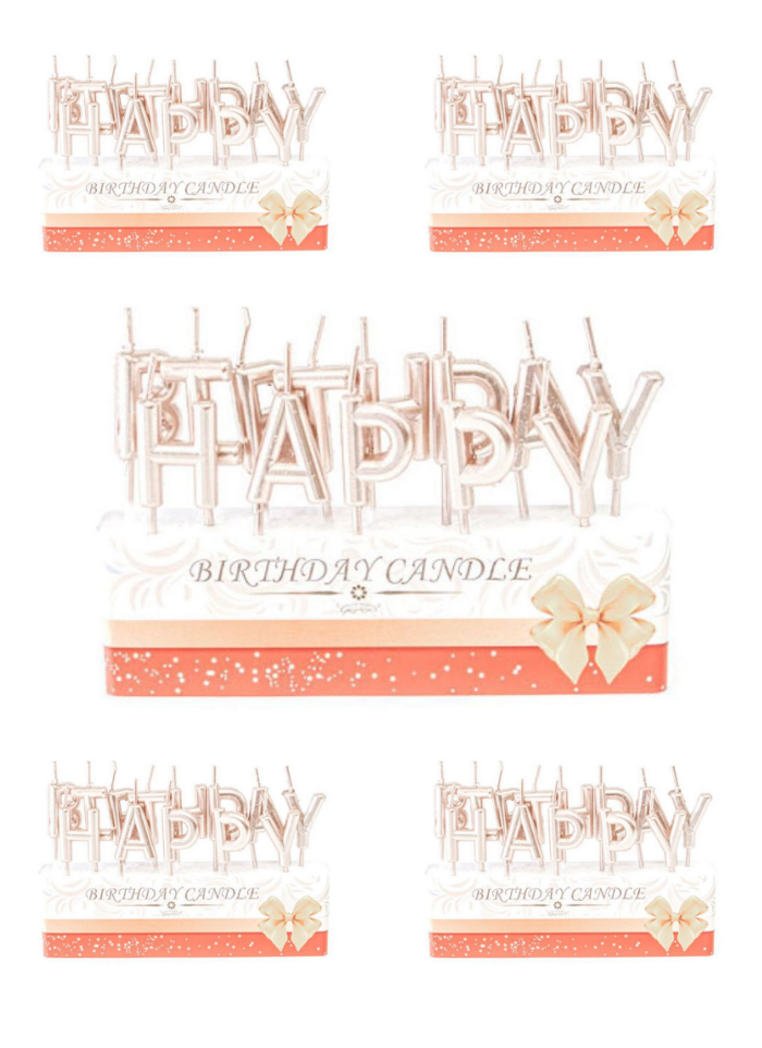 Happy Birthday candle Rose Gold pack of 5