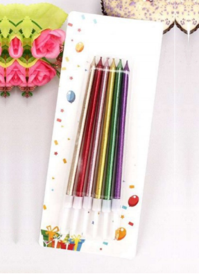 Metallic candle slim Multi Color 5.5 inch pack of 1