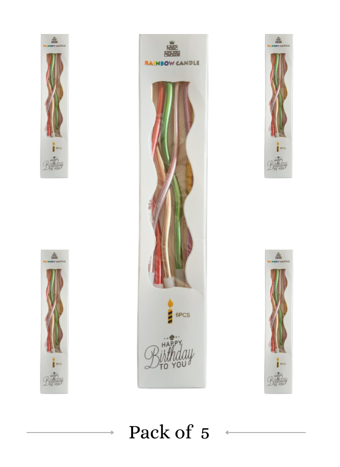 Spiral Candle Mettalic Multi pack of 5