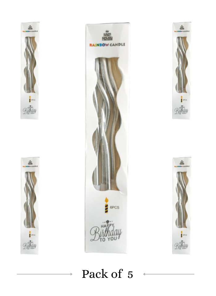 Spiral Candle Silver pack of 5