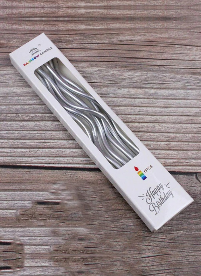 Spiral Candle Silver pack of 1