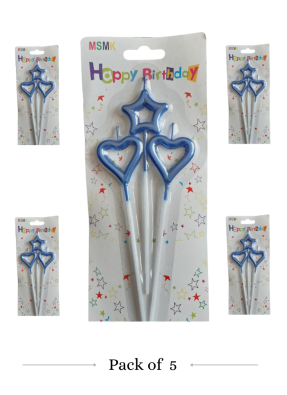 Star heart hollow candle Blue pack of 5