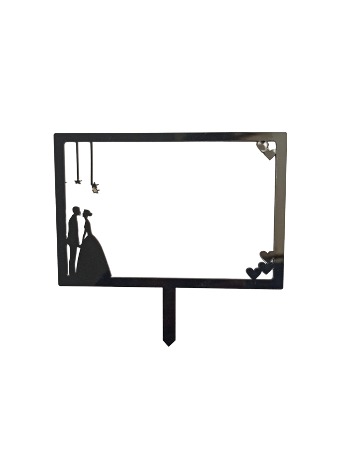 Couple Wedding Frame Black Acrylic Topper 5 inch Pack of 1