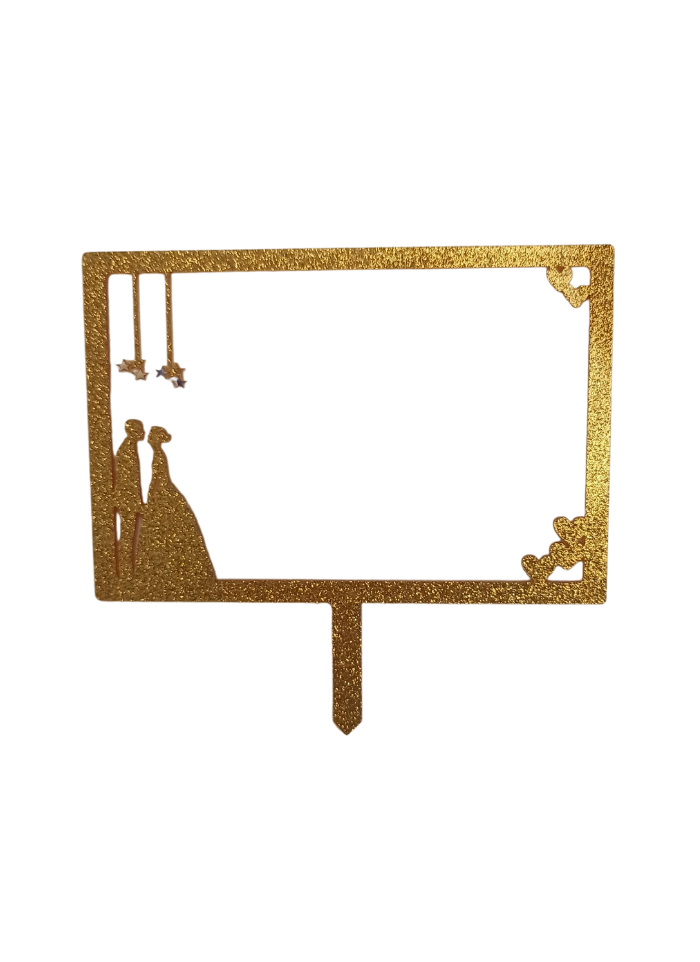 Couple Wedding Frame Glitter Gold Acrylic Topper 5 inch Pack of 1