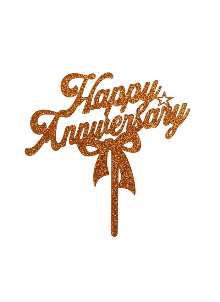 Happy Anniversary Bow Glitter Gold Acrylic Topper 5 inch Pack of 1