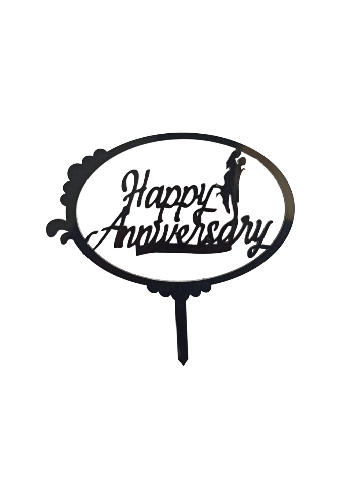 Happy Anniversary Circle Black Acrylic Topper 5 inch Pack of 1