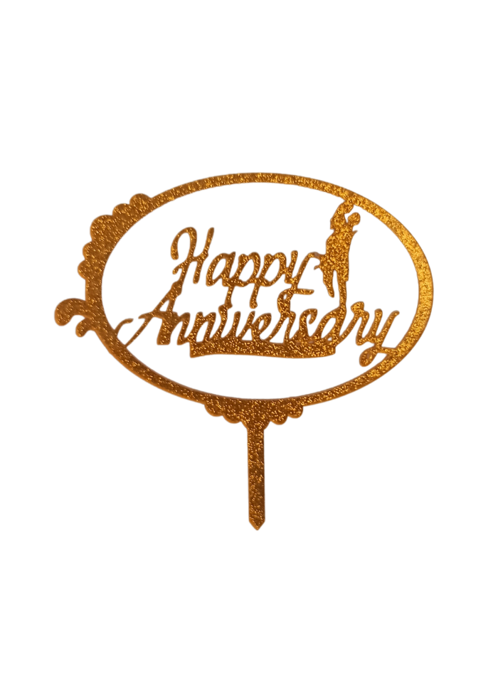 Happy Anniversary Circle Glitter Gold Acrylic Topper 5 inch Pack of 1