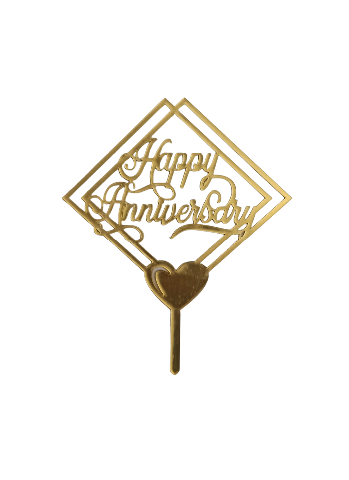 Happy Anniversary Golden Acrylic Topper 5 inch Pack of 1