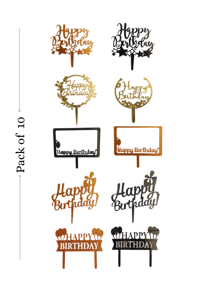 Happy Birthday toppers combo Assorted color Acrylic Topper 5 inch Pack of 10