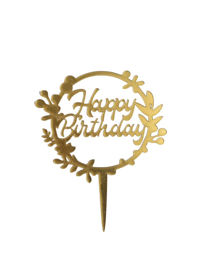 Happy Birthday Round Golden Acrylic Topper 5 inch Pack of 1