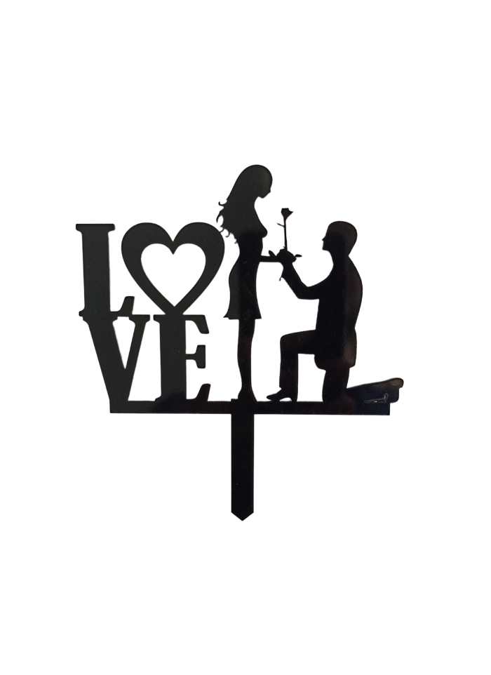 Love Black Acrylic Topper 5 inch Pack of 1
